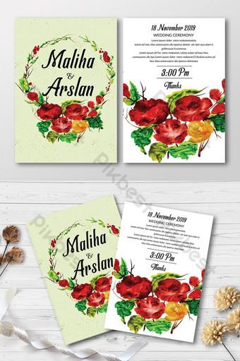 Cartes d'invitation florales polyvalentes Modèle PSD