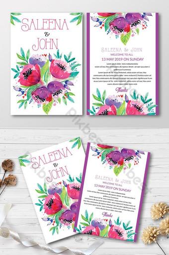 Cartes d'invitation de mariage floral violet rose Modèle PSD