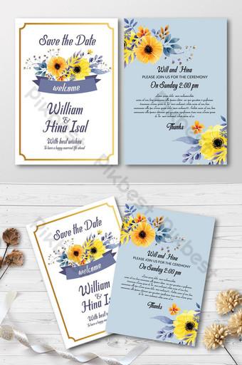 Enregistrer la date avec des cartes d'invitation de fleurs jaunes Modèle PSD