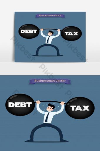 رجل أعمال يرفع أثقالًا ثقيلة من الديون والضرائب بشدة صور PNG قالب EPS
