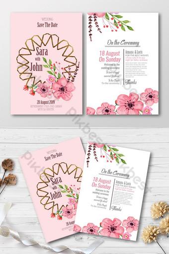 Cartes d'invitation de mariage roses et blanches Modèle PSD