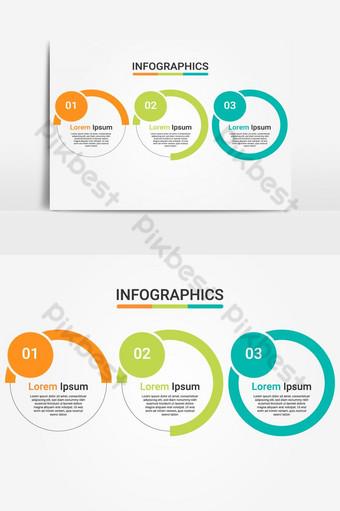 رسم تخطيطي لقالب عرض الأعمال Infograhpic مع 3 خيارات أو عمليات خطوات صور PNG قالب EPS