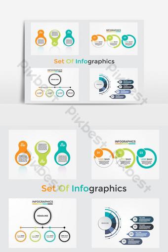 مجموعة من قوالب معلومات الأعمال مع 4 خطوات للعمليات أو الخيارات صور PNG قالب EPS