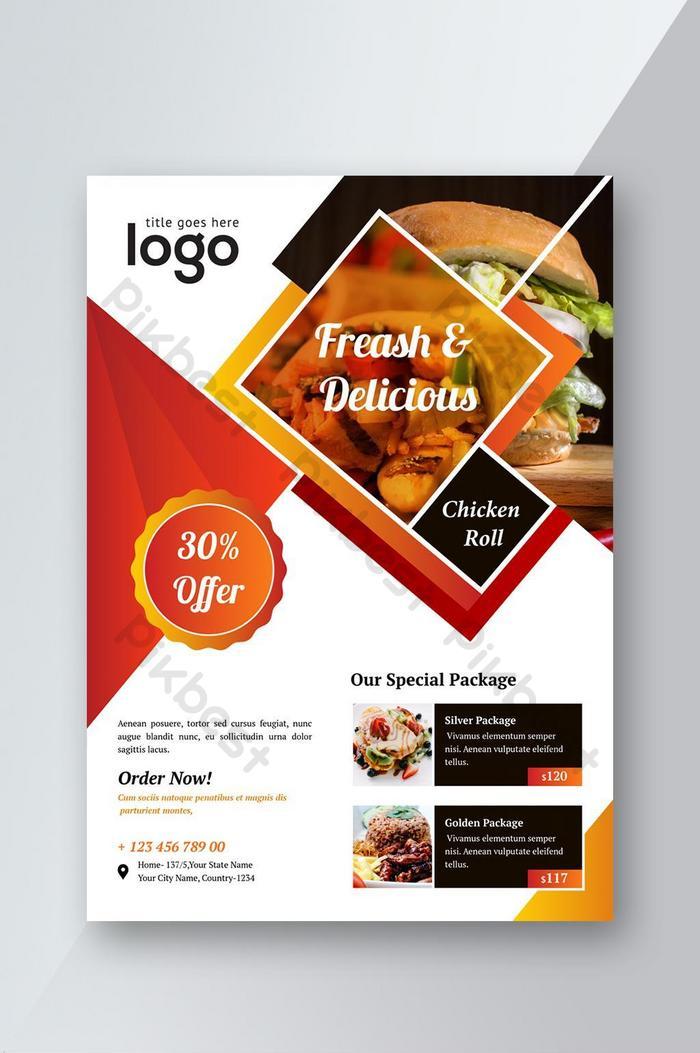 restaurante de comida oferecendo desconto especial folheto