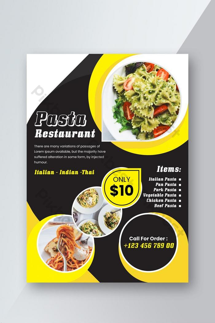 Black And Yellow Color In Contrast Restaurant Flyer Ai Free Download Pikbest