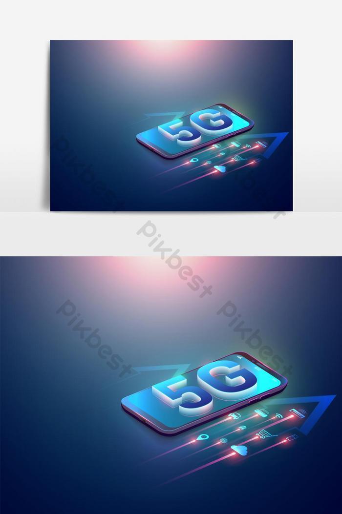 等距圖5g符號和智能手機和5g新無線互聯網上的物聯網