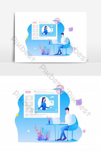 Conception plate de formation en ligne un personnage de l'homme est assis au bureau et étudie en ligne Éléments graphiques Modèle EPS