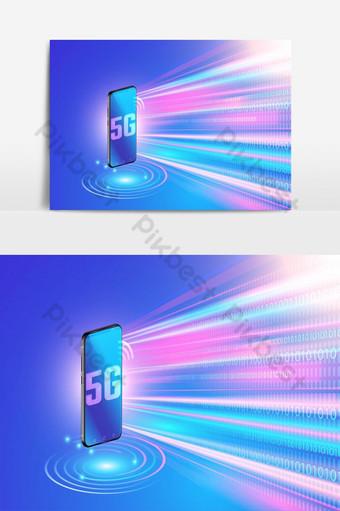 Tecnologia de rede 5g no smartphone e rede sem fio de alta velocidade Elementos gráficos Modelo EPS