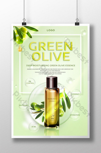 ملصق زيت الزيتون الأخضر الطازج المرطب للعناية بالبشرة قالب PSD