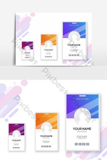 Collection de 3 kits de conception de cartes d'identité Éléments graphiques Modèle AI