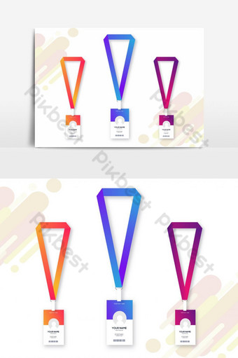 Colorful Abstract ID Card Design Set PNG Images Template AI
