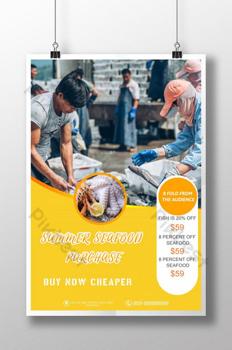 Fresh seafood promotion poster Template PSD