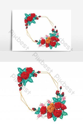 ramo de flores rosas rojas con marco dorado Elementos graficos Modelo EPS