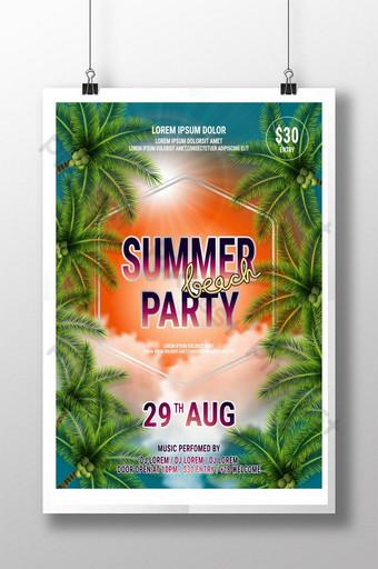 Summer Beach Party Flyer Design avec typographique sur fond de nature avec palmiers Modèle AI