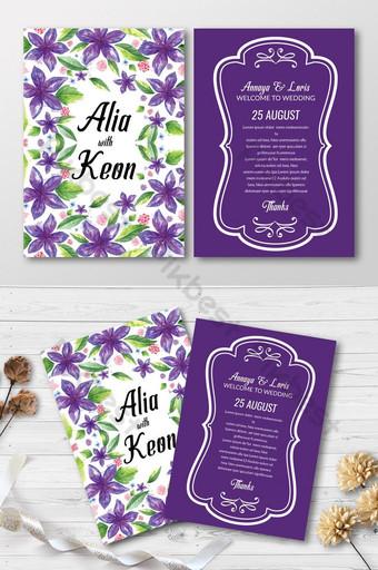 Save the Date Cartes d'invitation à motif floral violet Modèle PSD