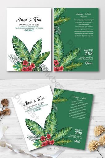 Cartes d'invitation florales à usage multiple Modèle PSD
