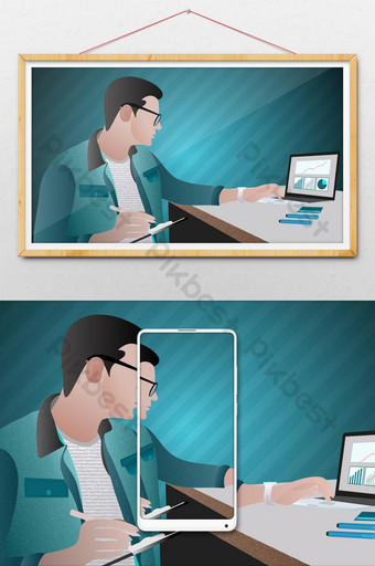 Freelancer man character seating in armchair and working at home or office Illustration Template AI