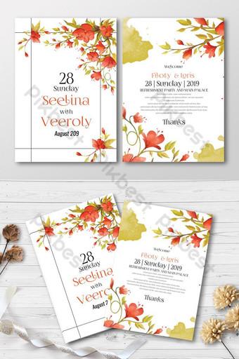Cartes d'invitation florales de mariage créatives Modèle PSD