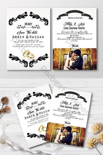 Juste se marier des cartes d'invitation Modèle PSD