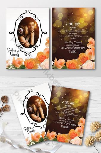 Cartes d'invitation de mariage élégantes à double face Modèle PSD