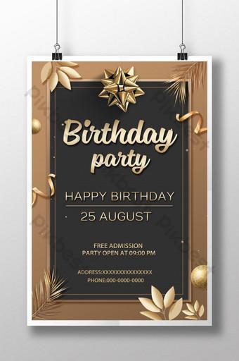Invitation de fête d'anniversaire haut de gamme doré Modèle PSD