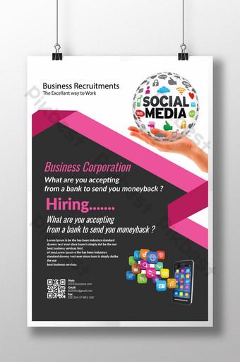 Recrutement d'entreprise via un dépliant sur les réseaux sociaux Modèle PSD