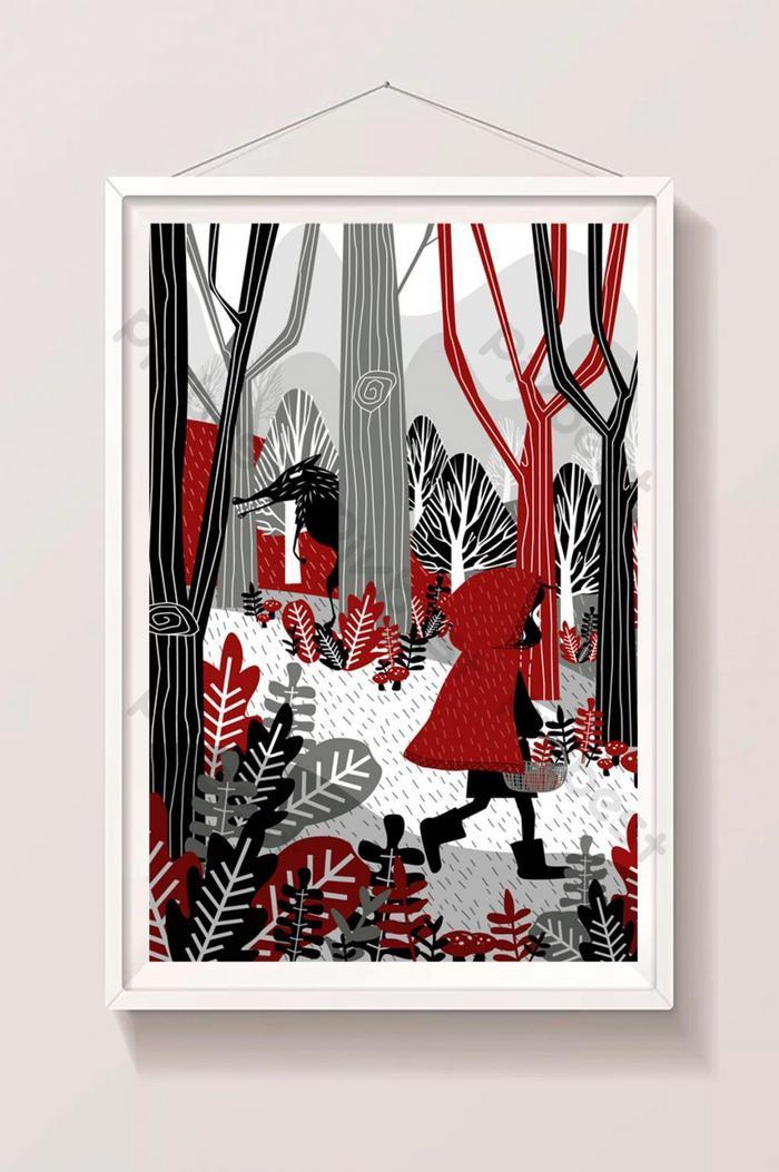 mały czerwony kaptur w lesie