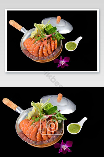Thai Style Baked Shrimp with Salt in Pot Photo Template JPG
