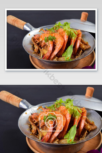 Baked Shrimp with Glass Noodles in Casserole Photo Template JPG