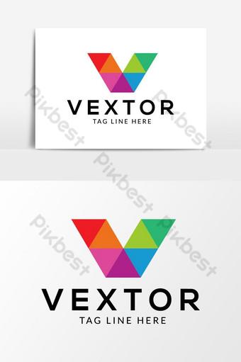 v diseño de logotipo de letra abstracta Elementos graficos Modelo AI