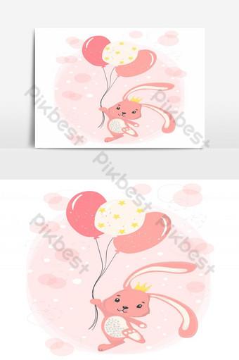 لطيف الأرنب الوردي سعيد مع تاج عقد البالونات نجمة الوردي ناقلات مسطحة صور PNG قالب EPS