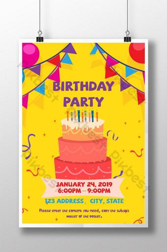 Invitation mignonne de style d'illustration de fête d'anniversaire Modèle AI