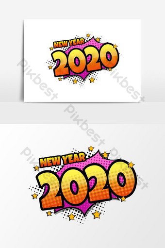 bocadillo de diálogo cómico con texto de expresión 2020 vector ilustración de dibujos animados dinámica brillante i Elementos graficos Modelo EPS