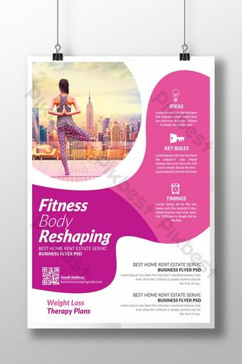 Body Fitness Lady Doing Yoga Coaching Flyer Modèle PSD