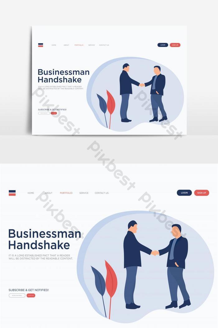 halaman arahan jabat tangan ahli perniagaan