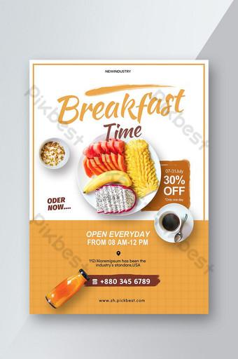 selebaran promosi makanan ringan buah sarapan sederhana Templat PSD