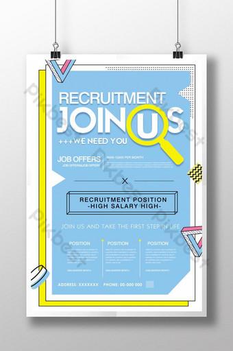 Conception de flyer d'affiche d'information sur le recrutement bleu Modèle PSD