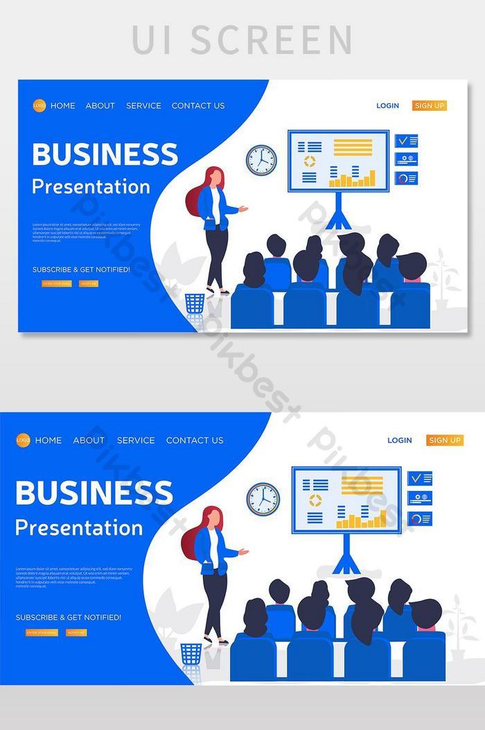 ilustrasi halaman arahan vektor pembentangan perniagaan