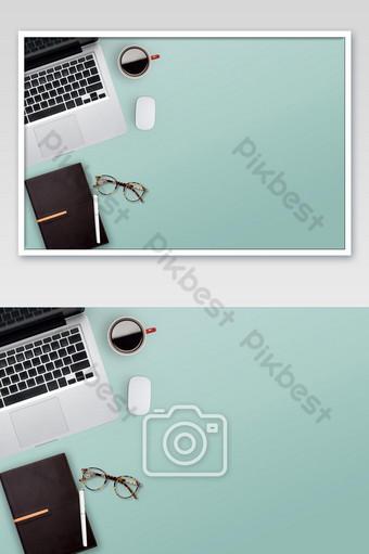 Vista desde arriba del espacio de copia del escritorio de trabajo de oficina y fondo de la mesa de trabajo Fotografía Modelo JPG