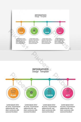 Infographie du diagramme de méthode de gestion pdca Modèle d'entreprise de vecteur pour la présentation Éléments graphiques Modèle EPS