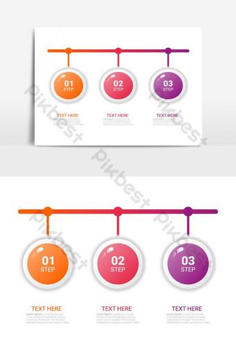 Modèle d'affaires de vecteur d'infographie en trois étapes pour la présentation Éléments graphiques Modèle EPS