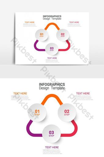 Modèle d'affaires de vecteur d'infographie en trois étapes pour la présentation et la formation Éléments graphiques Modèle EPS
