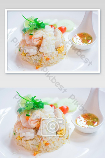 Thai Dishes called Kao Pad, Stir fried Rice Seafood, Chinese food, Japanese food Photo Template JPG