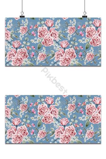 patrón sin costuras flores color de rosa vintage acuarela ilustración vectorial Fondos Modelo EPS