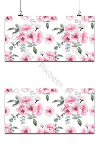 Ilustración de vector de color de agua vintage flores rosas silvestres de patrones sin fisuras Fondos Modelo EPS