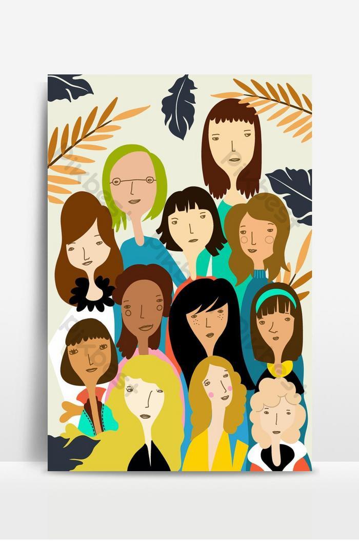 pola vektor hari perempuan internasional dengan ilustrasi vektor wajah perempuan dalam coretan