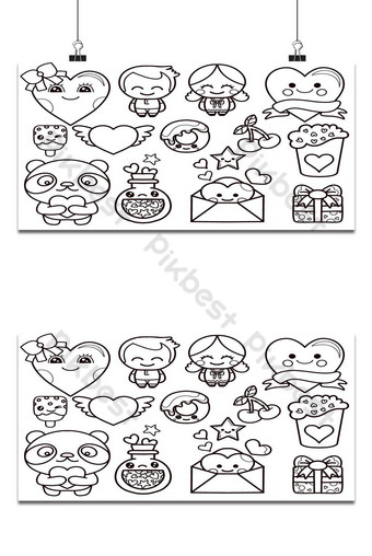 valentine's day kawaii icons set,drawing colored vector set. all elements are isolated 1 Backgrounds Template EPS