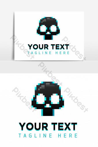 logo de juego de calavera de pixel azul negro Elementos graficos Modelo EPS