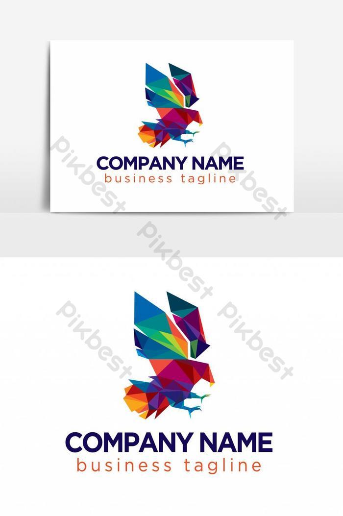 красочный низкополигональный логотип ястреба