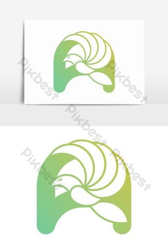 un elemento gráfico del vector del diseño abstracto del logotipo del pájaro de la letra Elementos graficos Modelo AI